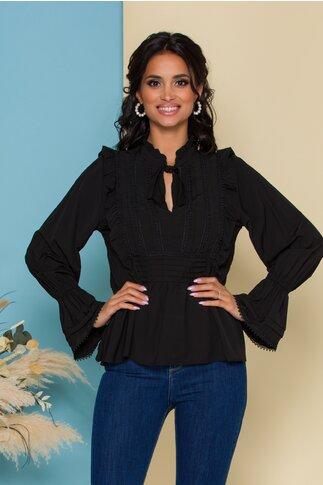 Bluza Leona neagra cu volanase