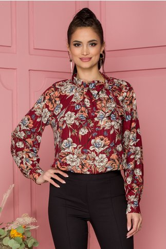 Bluza Leonard Collection bordo cu imprimeu floral si insertii aurii