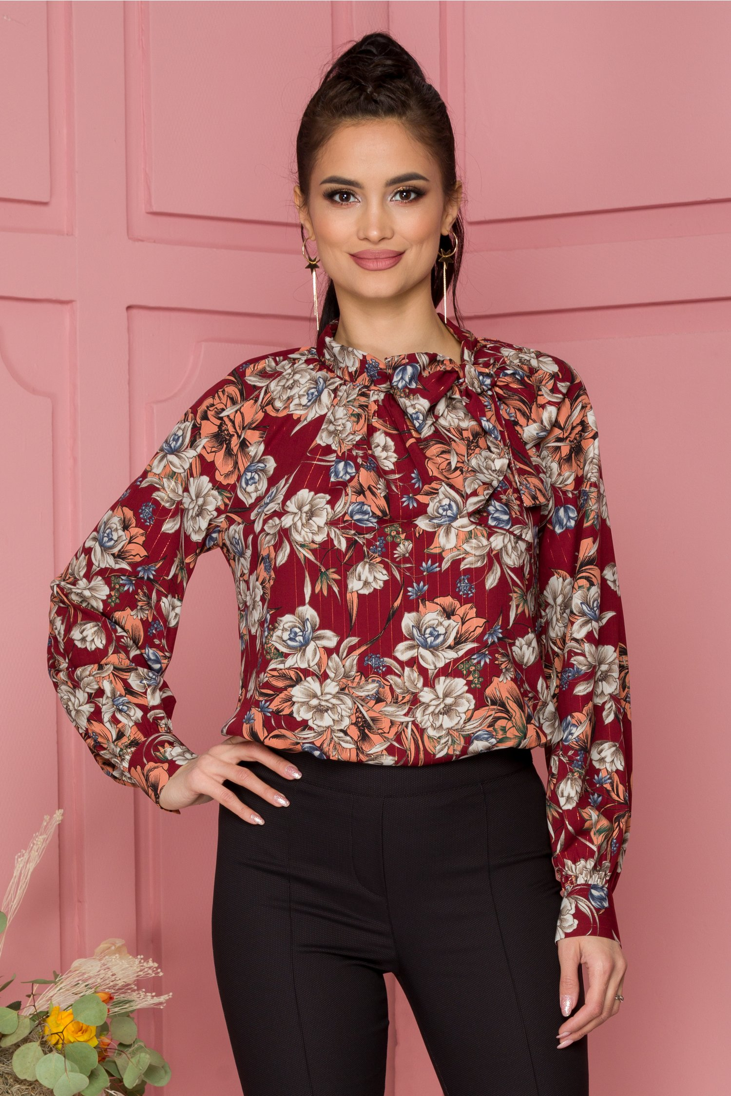 Bluza Leonard Collection bordo cu imprimeu floral si insertii aurii