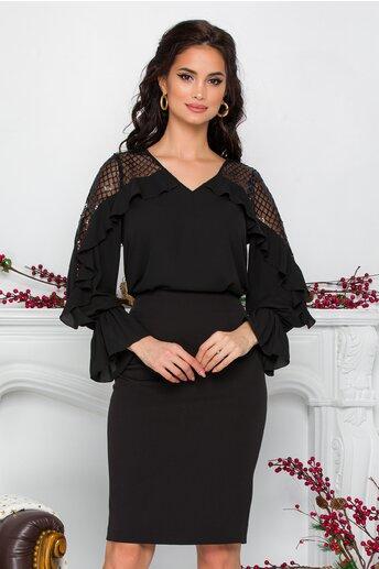 Bluza Leonard Collection neagra cu volane si paiete discrete