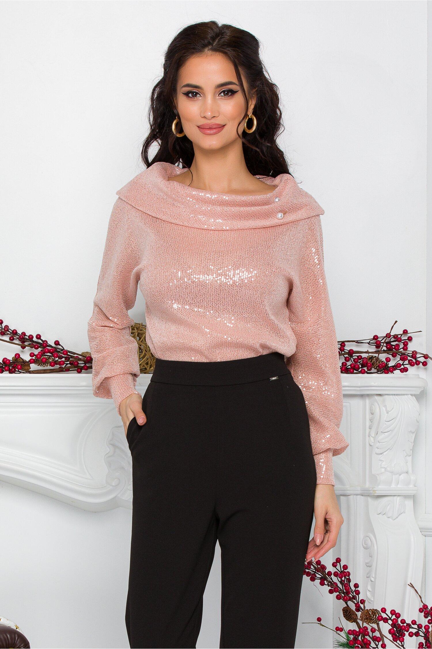 Bluza Leonard Collection roz cu paiete si guler lasat pe umeri