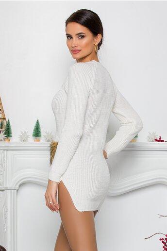 Bluza Lexa alba din tricot cu blanita la buzunare
