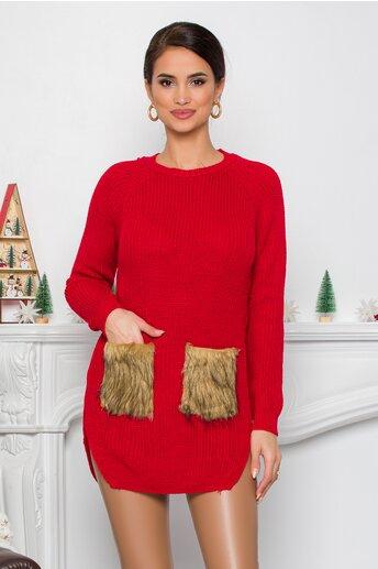 Bluza Lexa rosie din tricot cu blanita la buzunare