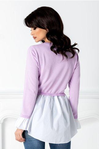 Bluza lila cu alb casual