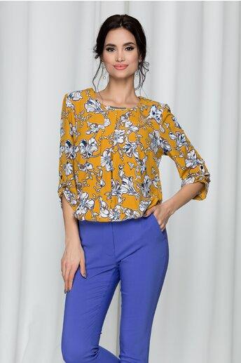 Bluza Lilith galben mustar cu elastic la baza si imprimeu floral
