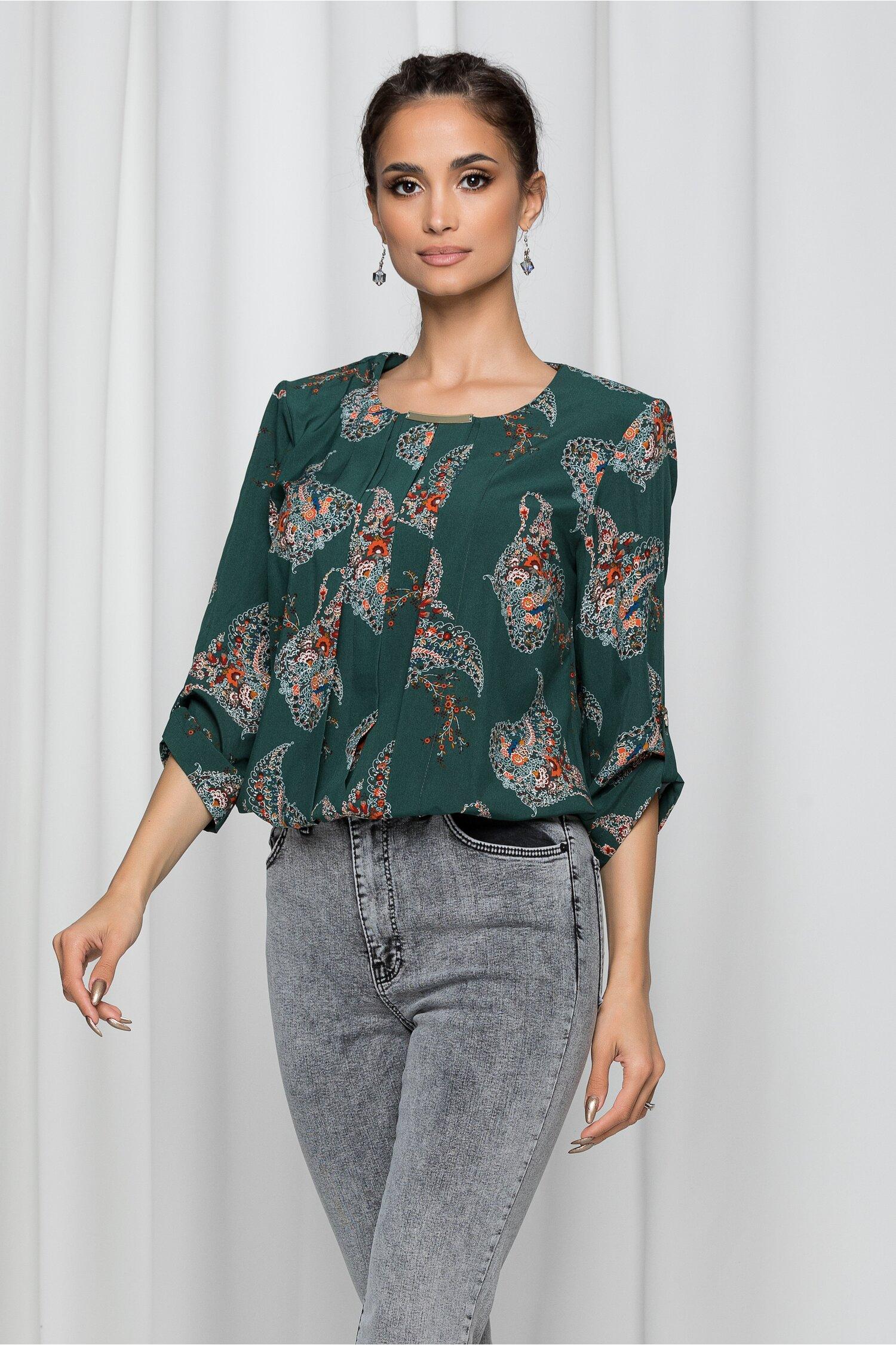 Bluza Lilith verde cu elastic la baza si imprimeu floral