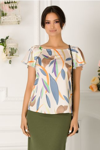 Bluza Lison ivoire cu imprimeu multicolor