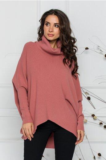 Bluza Livia roz coniac lejera cu lungime asimetrica