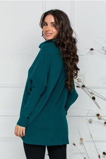 Bluza Livia turcoaz lejera cu lungime asimetrica