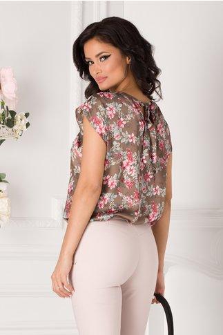 Bluza Lorette maron cu imprimeu floral