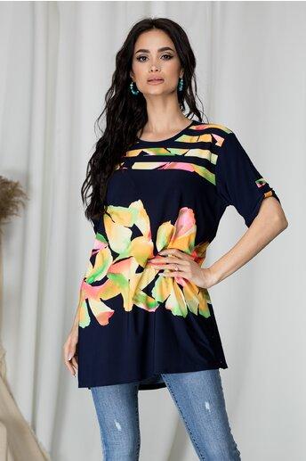 Bluza Lory bleumarin cu dungi si imprimeu floral