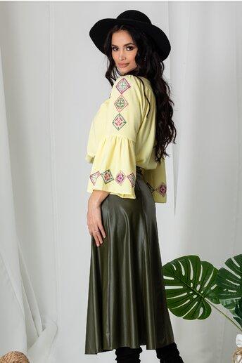 Bluza Lucia galbena cu broderie traditionala