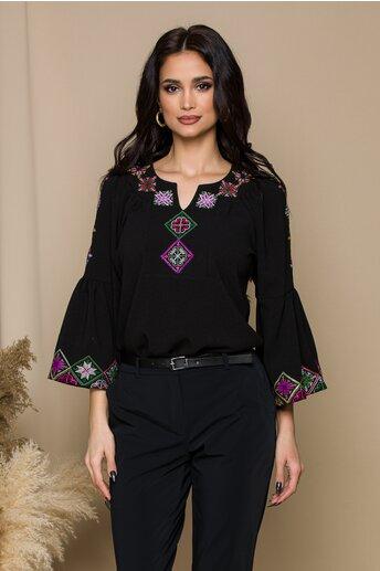Bluza Lucia neagra cu broderie traditionala