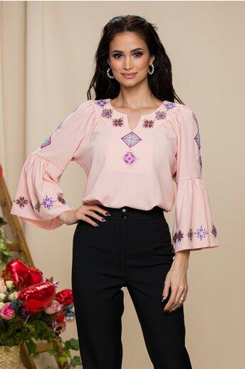 Bluza Lucia roz pal cu broderie traditionala