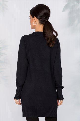 Bluza lunga neagra cu buzunar