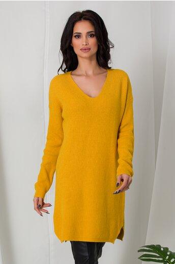 Bluza lunga Samira galbena din tricot