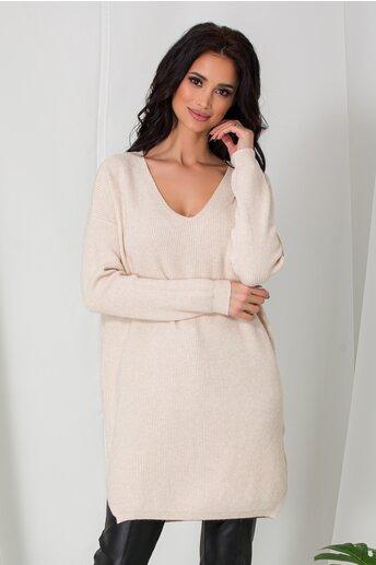 Bluza lunga Samira ivory din tricot