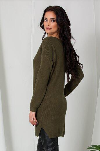 Bluza lunga Samira kaki din tricot