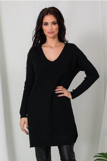 Bluza lunga Samira neagra din tricot