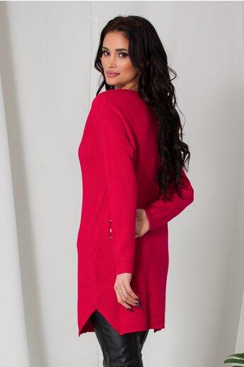 Bluza lunga Samira rosie din tricot