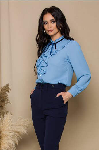 Bluza Madalina bleu accesorizata cu volanas si snur din catifea bleumarin