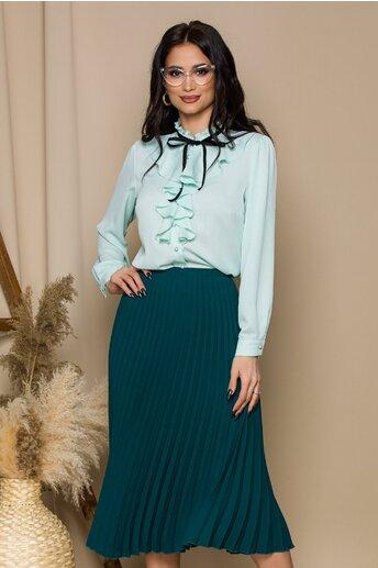 Bluza Madalina verde mint accesorizata cu volanas si snur din catifea bleumarin