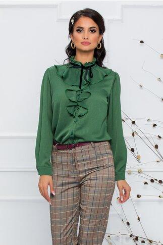 Bluza Madalina verde olive accesorizata cu volanas si snur din catifea neagra