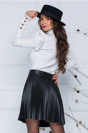 Bluza Maira alba cu volane la umeri si nasturi decorativi
