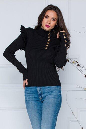 Bluza Maira neagra cu volane la umeri si nasturi decorativi