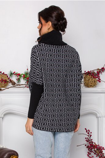 Bluza Mara gri cu imprimeu geometric si guler maxi