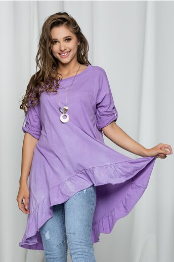 Bluza Marga lila asimetrica cu volanase