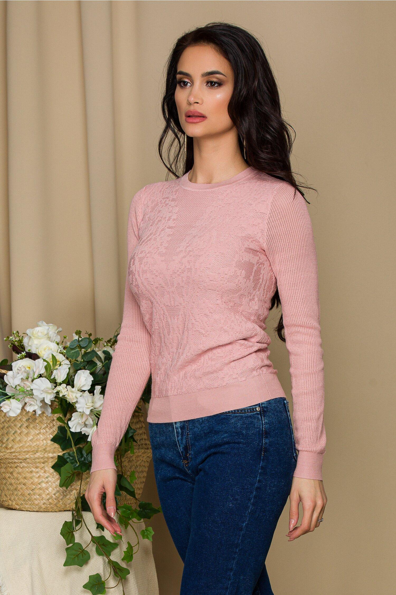 Bluza Mari roz prafuit din tricot