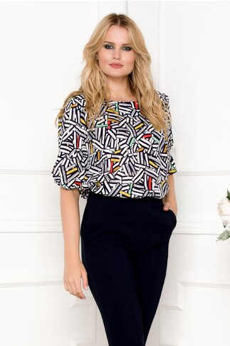 Bluza Maria bleumarin cu imprimeu abstract si insertii aurii