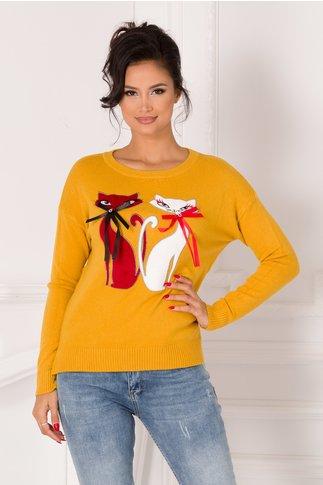 Bluza Marie galben mustar cu pisicute