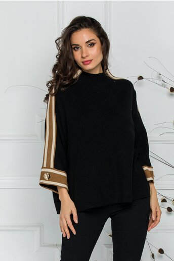 Bluza Marina neagra lejera cu dungi pe maneci