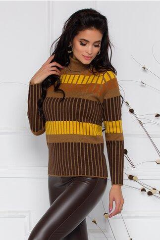 Bluza maro cu guler inalt si imprimeuri galben mustar