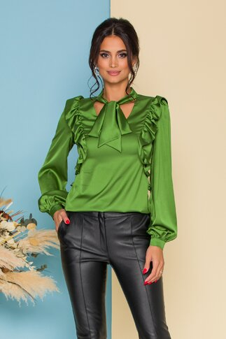 Bluza MBG eleganta verde cu volanase si guler tip esarfa