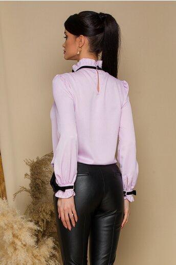 Bluza MBG lila cu volanas si fundita la guler