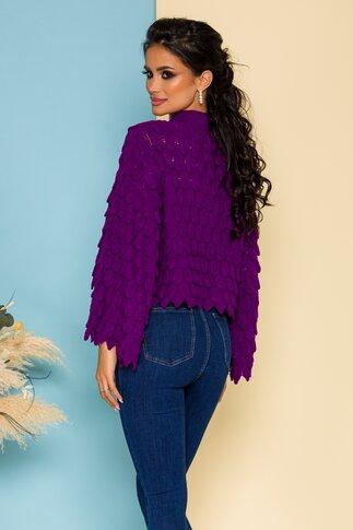 Bluza Meize mov tricotata cu design deosebit
