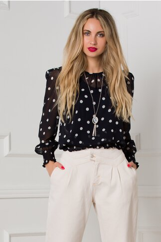 Bluza Melanie bleumarin cu buline albe