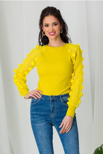 Bluza Melina galbena cu insertii 3D pe maneci