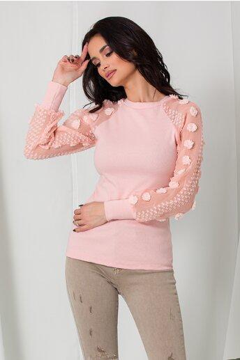 Bluza Melina roz cu insertii 3D pe maneci