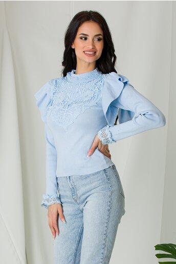 Bluza Melli bleu cu dantela la bust si volane la umeri