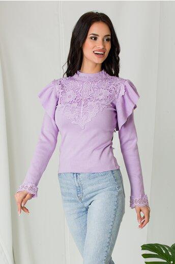 Bluza Melli lila cu dantela la bust si volane la umeri