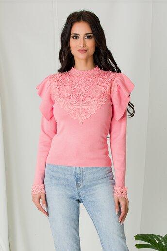 Bluza Melli roz cu dantela la bust si volane la umeri