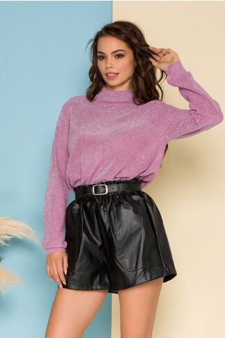 Bluza Mika mov din tricot cu insertii din fir lurex