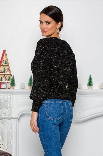 Bluza Minnie neagra din tricot cu insertii din fir lurex