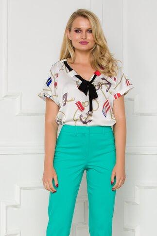 Bluza Mirabela alba cu imprimeu marinaresc