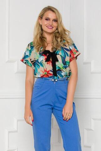 Bluza Mirabela bej cu imprimeu floral colorat
