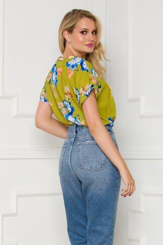 Bluza Mirabela vernil cu imprimeu floral colorat